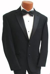 New Men's Black Calvin Klein Tuxedo Jacket Satin Notch Lapel Super 100's Wool