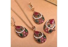 Ladies 4pc Jewelry Set - Necklace, Earrings & Matching Ring - Red Multicolored