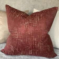 "John Lewis & Partners Loki Squares Fabric, Mulberry 18"" Cushion Cover Handmade"