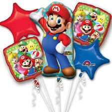 Ninentido Super Mario Happy Birthday Party Favor 5CT Foil Balloon Bouquet