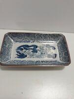 RARE Vintage Takahashi Blue White Dragon Porcelain Rectangle Serving Dish/Bowl