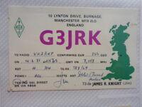 OLD VINTAGE QSL HAM RADIO CARD. BURNAGE, ENGLAND. 1985