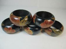 Vintage Set of 5 Wood Wooden Napkin Ring Holders Floral Leafy Flower Pattern