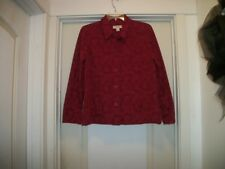 ROMANTIC PAST LOOK RAISED VINES & FLOWERS BURGANDY COLORED SHIRT STYLE JACKET 8