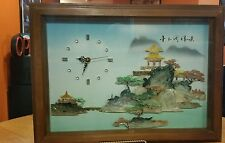 Vintage Oriental shadow box Shell Art Picture and Clock