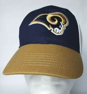 NFL Los Angeles Rams Logo Navy Gold White Adjustable Hat Cap Youth Size XL NWT