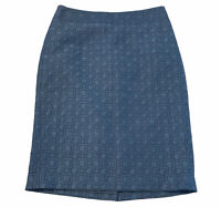 Ann Taylor Women's Size 0 Blue Cotton Blend Pencil Skirt Career Work
