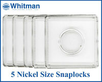 5 Coin Snaplock 2x2 Clear Plastic Holders For Nickel Long Term Storage Whitman