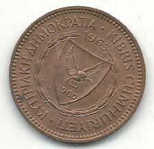 HIGH GRADE AU PLUS 1963 CYPRUS 5 MILS COIN-JUL258