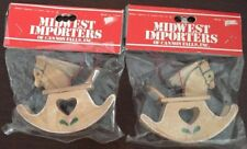 Vintage Midwest Cannon Falls 2 Country Wooden Rocking Horse Heart Ornaments