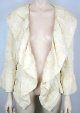 GORGEOUS CHANEL IVORY CREAM SILK CAMELLIA JACQUARD JACKET COAT $5K - WORN ONCE!
