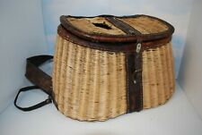 New Listing~ Old Vintage Wicker & Leather Fishing Creel Unbranded Original Straps ~