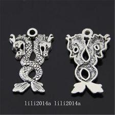 10pc Tibetan Silver Charm Pendant Dragon Beads Accessories Findings PL1324