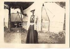 """Surname Nettleton """"Old Maid Relative"""" Woman On Camping Trip Tents Antique Photo"""