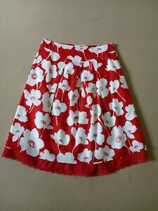 Damen Blumen- Rock in Rot-Weiß von Jackpot 100% Baumwolle, Gr. 32