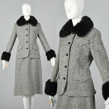 Small Deadstock Tweed Skirt Suit Gray Vtg 70s Fur Trim Long Sleeve Knee Length