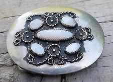 Mother Of Pearl Handcrafted Nickel Silver Western Vintage Belt Buckle