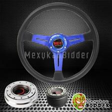 "14"" Black Blue Steering Wheel + Silver Quick Release Hub For Acura Integra 94-01"
