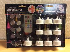 LED Teelichter 10er Set mit Farbwechsel - 4/8 Stunden Timer + Fernbedienung