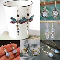 Women Crystal Retro Silver Turquoise Gemstone Drop Dangle Hook Earrings Gift