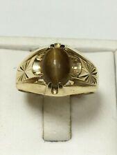 Unusual 9 Carat Yellow Gold GENTS TIGERS EYE SET Ring