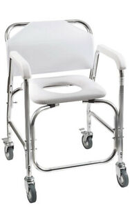 Rolling Shower and Commode Transport Chair with Wheels and Padded Seat Handicap