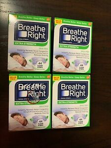 176 BREATHE RIGHT NASAL STRIPS, EXTRA CLEAR ( 4 x 44 Ct Boxes ) Ship World Wide