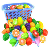Kids Role Play Kitchen Plastic Fruit Vegetable Food Cutting Toy Set