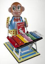 Monkey Playing Xylophone Large Clockwork Wind-Up Tin Toy