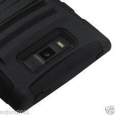 LG Splendor Venice US730 ADV HYBRID ARMOR CASE SKIN COVER ACCESSORY BLACK