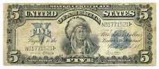 USA United States Silver Certificate 5 Dollars 1899 F RARE