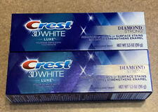 Lot Of 2 Packages Crest Toothpaste 3D White Luxe Diamond Strong 3.5 oz