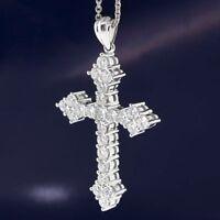 "2.35 Ct Diamond Cross Pendant 18"" Necklace 14k White Gold GP Christmas Special"