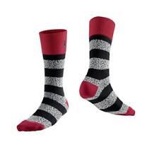 Nike Jordan Elephant Striped Crew Socks Black/Gym Red 647688-695 Sz XL 12-15