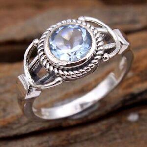 Blue Topaz Gemstone 925 sterling Silver Jewelry Handmade Ring Size US 7.5