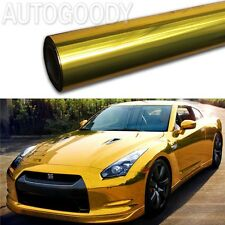"12"" x 60"" Gold Chrome Mirror Vinyl Film Wrap Sticker Decal Stretchable"