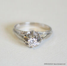 Bague Or Gris 18k Solitaire Diamant 0.20cts 2.4grs - Bijoux occasion