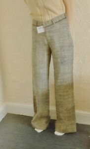 ABE SERA Sand&Blue Hemp/Linen Trouser Size 14-16/36in new with tags