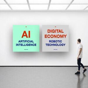 2 posters déco AI ARTIFICIAL INTELLIGENCE ROBOTIC TECHNOLOGY DIGITAL ECONOMY T2