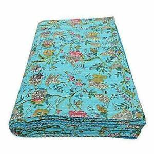 Indian Kantha Quilt Indigo Blue King Size Bedspread Reversible Throw Blanket