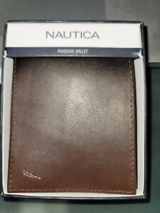 New Nautica Passcase Bifold Brown Leather Men's Credit Card ID Wallet