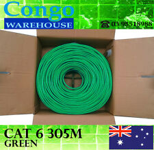 10 x Green 305m Premium Cat6 RJ45 Ethernet LAN Network Cable Lead Roll Boxed