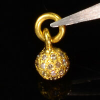 18k Solid Yellow Gold Handmade Champagne Diamond Sphere Ball Charm Pendant