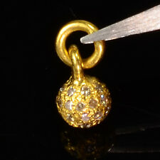 18k Solid Yellow Gold Handmade Champagne Diamond Sphere Ball Charm Pendant