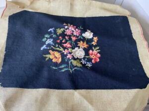 Vintage Finished Needlepoint Seat Chair Cover #4 Ships FREE