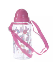 PINK UNICORN DRINKS WATER BOTTLE WITH STRAW & STRING  gym school gift girl