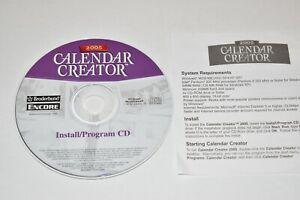 Calendar Creator Version 1 2005 Broderbund Program CD Encore