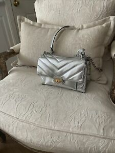 MICHAEL KORS 30H9UOEL6K Cece Quilted Metallic Leather Crossbody Bag Purse NWT