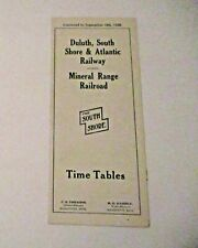 VINTAGE 1938 DULUTH SOUTH SHORE ATLANTIC MINERAL RAILWAY RAILROAD TIME TABLE
