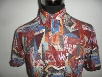 vintage 80er NEW FAST Viskose Hemd crazy pattern 80er oldschool 80s shirt Gr.M